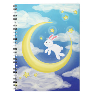 Moon Bunny Blue Spiral Notebook