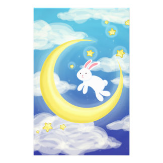 Moon Bunny Blue Stationery