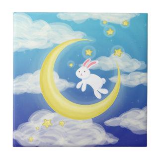 Moon Bunny Blue Tile