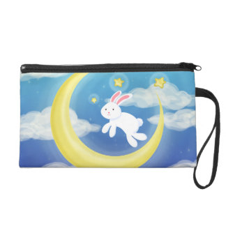 Moon Bunny Blue Wristlet Purse