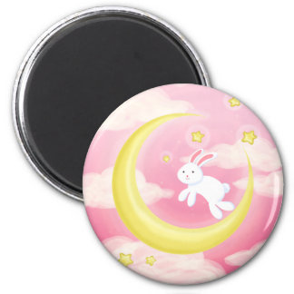 Moon Bunny Pink 2 Inch Round Magnet