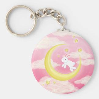 Moon Bunny Pink Basic Round Button Keychain