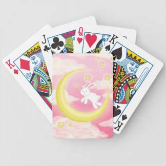 Moon Bunny Pink Bicycle Playing Cards