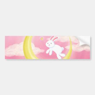 Moon Bunny Pink Bumper Sticker