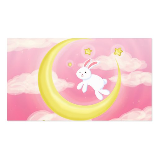 Moon Bunny Pink Double-Sided Standard Business Cards (Pack Of 100)