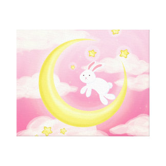 Moon Bunny Pink Canvas Print