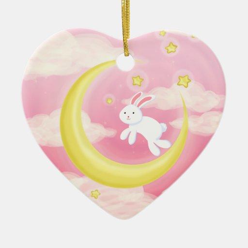 Moon Bunny Pink Christmas Tree Ornaments