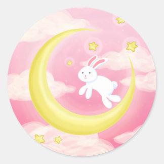 Moon Bunny Pink Classic Round Sticker