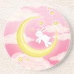 Moon Bunny Pink Drink Coaster
