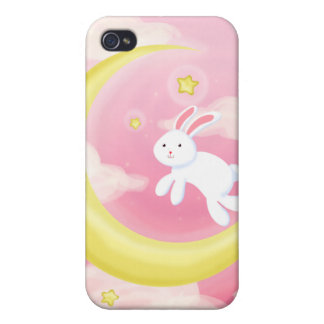 Moon Bunny Pink iPhone 4 Cover