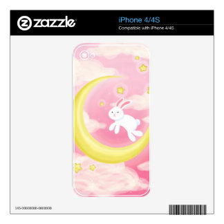 Moon Bunny Pink iPhone 4 Decal