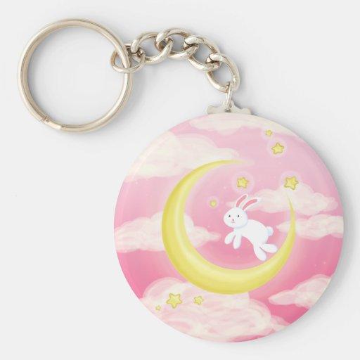 Moon Bunny Pink Keychain