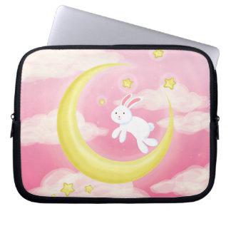 Moon Bunny Pink Laptop Sleeves