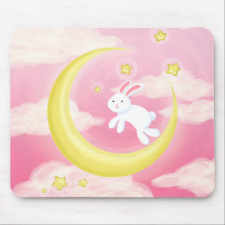 Moon Bunny Pink Mouse Pad