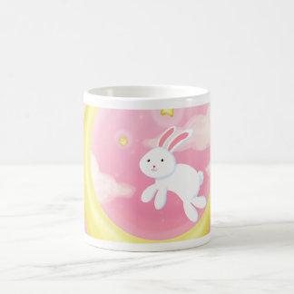 Moon Bunny Pink Classic White Coffee Mug