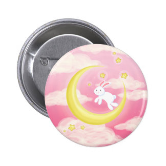 Moon Bunny Pink Pinback Button