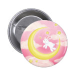 Moon Bunny Pink Pinback Buttons