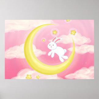 Moon Bunny Pink Print
