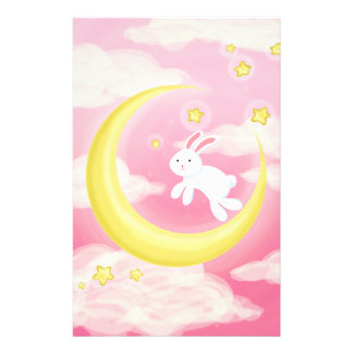 Moon Bunny Pink Stationery