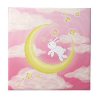 Moon Bunny Pink Small Square Tile