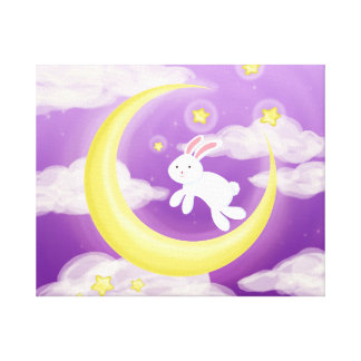 Moon Bunny Purple Canvas Print