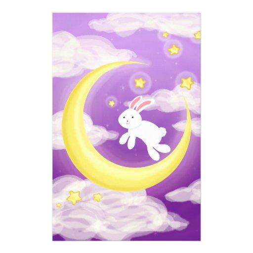 Moon Bunny Purple Stationery