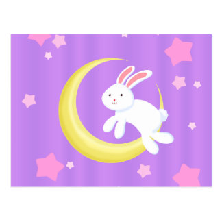 Moon Bunny Stars Postcard