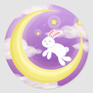 Moon Buny Purple Round Sticker