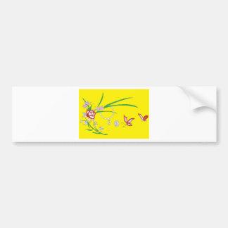 moon butterfly flowers bumper sticker