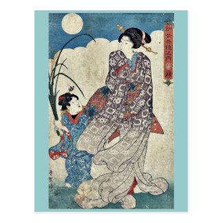 Moon by Utagawa, Kunisada Ukiyoe Postcard