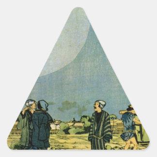Moon by Utagawa Kuniyoshi Triangle Sticker