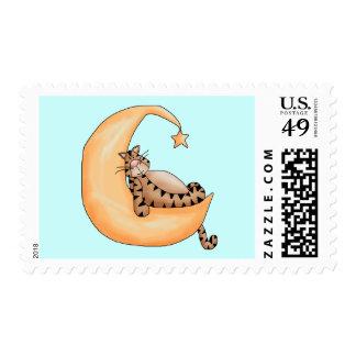 Moon Cat Nap Stamp