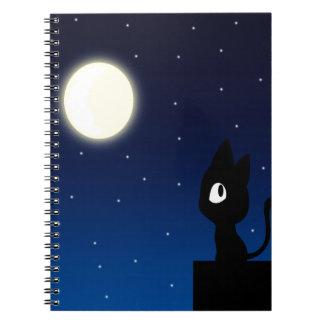 Moon Cat Spiral Note Book