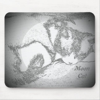 Moon Cat outline mouse pad