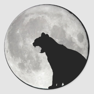 Moon Cat Shadow Classic Round Sticker