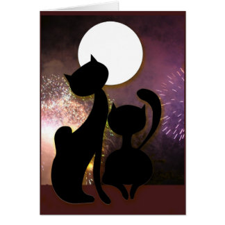 Moon cats & fireworks card