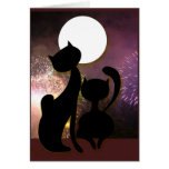 Moon cats & fireworks greeting card