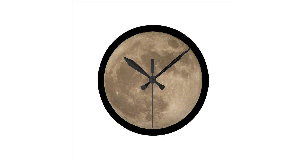 Moon Clock Full Moon Wall Clocks Decor Zazzle
