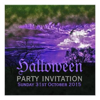 Moon Clouds Purple Halloween Invitations
