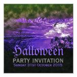 "Moon Clouds Purple Halloween Invitations 5.25"" Square Invitation Card"