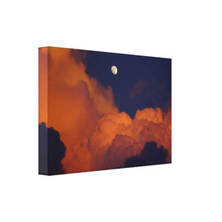 Moon clouds sunset Stretched Canvas Print