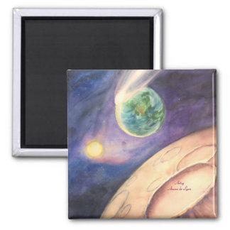 Moon, Comet, Earth, Sun Fridge Magnet