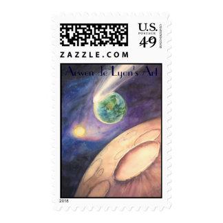 Moon, Comet, Earth, Sun Postage Stamp