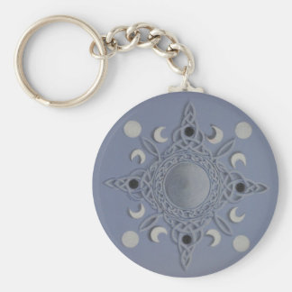 Moon cycle -celtic knot basic round button keychain