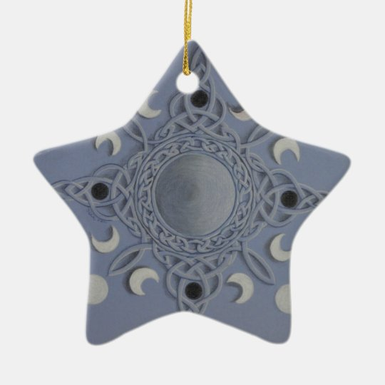 Moon cycle -celtic knot ceramic ornament
