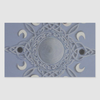 Moon cycle -celtic knot rectangular sticker