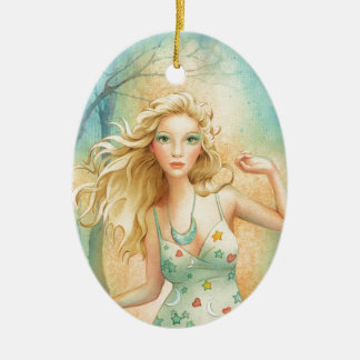 """Moon Dance"" By Scot Howden Double-Sided Oval Ceramic Christmas Ornament"