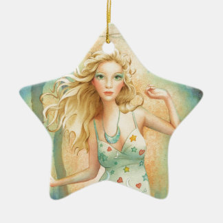 """Moon Dance"" By Scot Howden Double-Sided Star Ceramic Christmas Ornament"