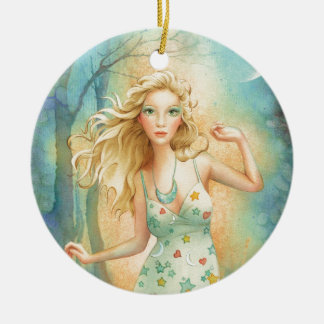 """Moon Dance"" By Scot Howden Double-Sided Ceramic Round Christmas Ornament"