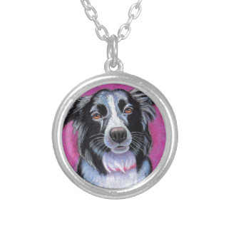 Moon Dog Border Collie Silver Plated Necklace